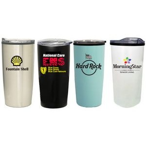 17 Oz. Stainless Steel Travel tumbler w/ Plastic Interior & Slide Lid